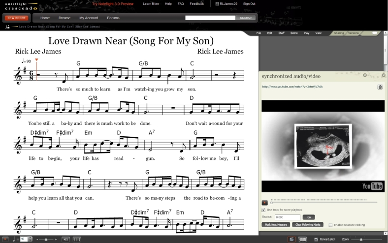 Sheet music and video for Love Drawn Near