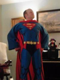 Rick wearing his Superman Snuggie
