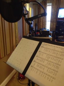 Music stand and mic for scratch vocals.