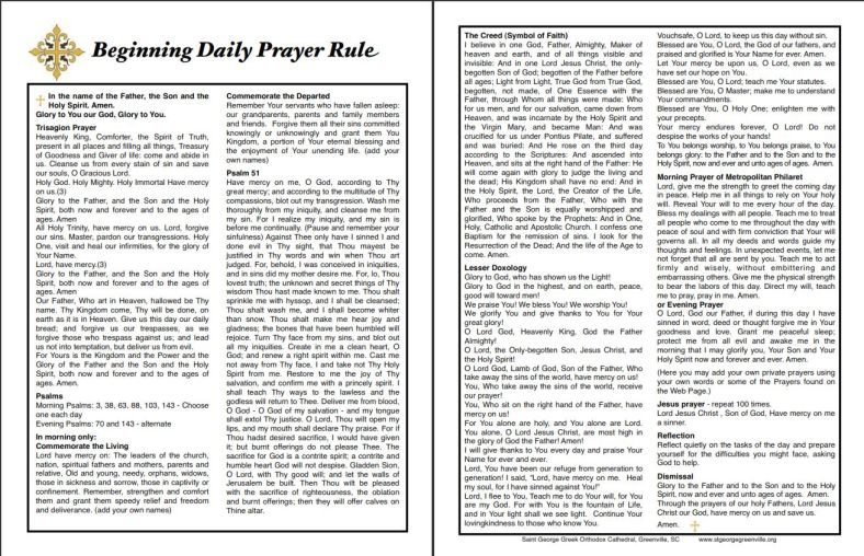Beginning Daily Prayer Rule